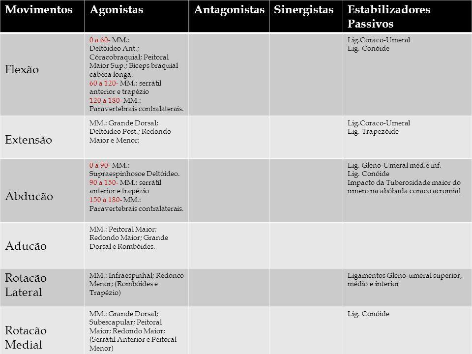 MovimentosAgonistasAntagonistasSinergistasEstabilizadores Passivos Flexão 0 a 60- MM.: Deltóideo Ant.; Córacobraquial; Peitoral Maior Sup.; Bíceps braquial cabeca longa.