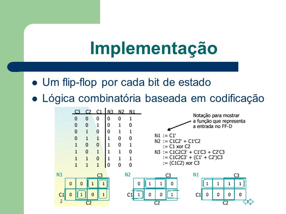 Implementação Um flip-flop por cada bit de estado Lógica combinatória baseada em codificação