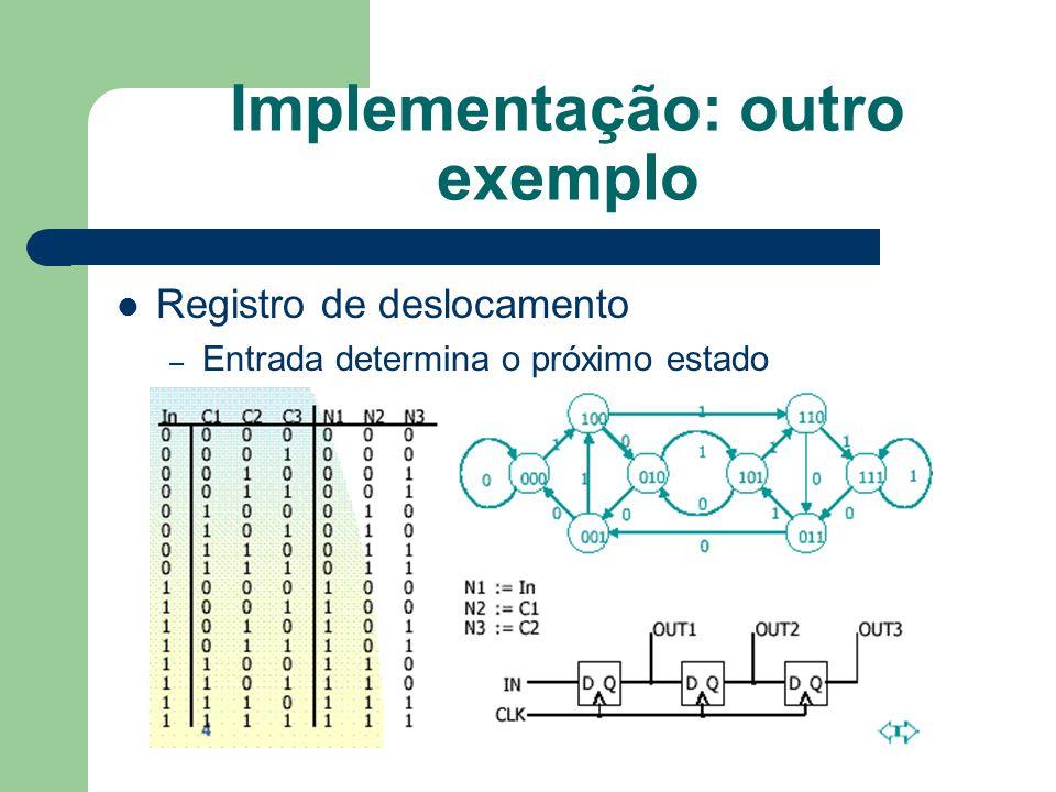 Implementação: outro exemplo Registro de deslocamento – Entrada determina o próximo estado