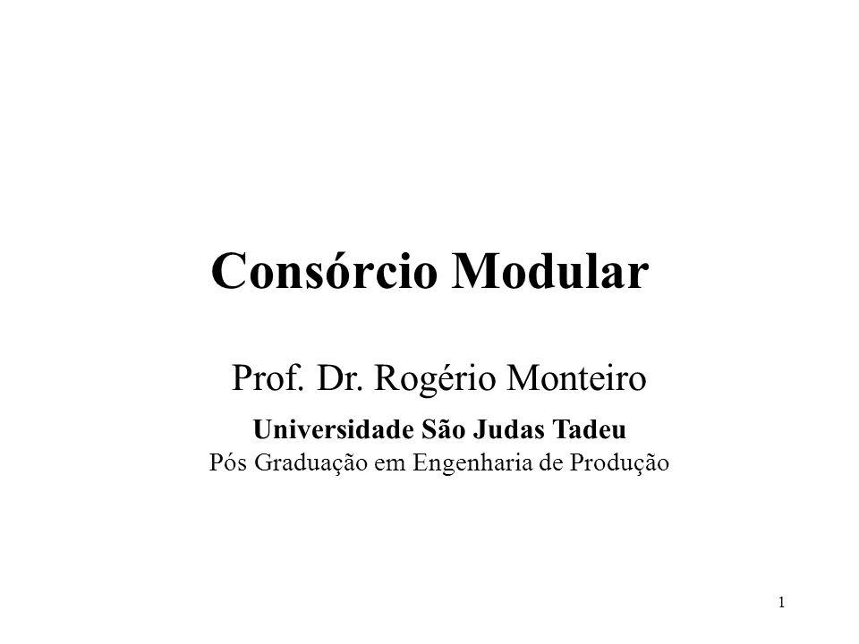 1 Consórcio Modular Prof. Dr. Rogério Monteiro Universidade São Judas Tadeu Pós Graduação em Engenharia de Produção