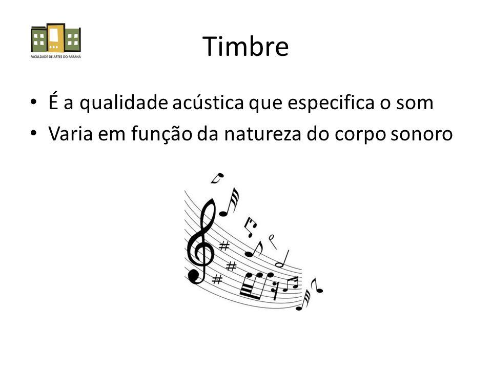Timbre É a qualidade acústica que especifica o som Varia em função da natureza do corpo sonoro