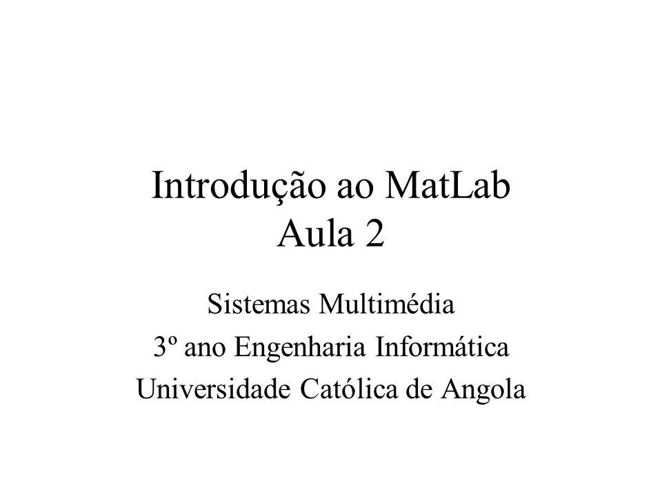 Ajuda no MatLab Ajuda e informação no MatLab pode ser obtida de várias formas –Na linha de comando usando help tópico –Numa janela de ajuda separada no menu de help –No helpdesk MatLab mantido no disco ou CD- ROM