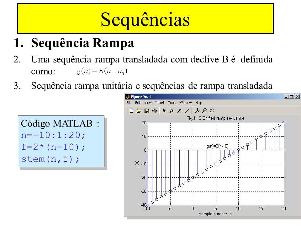 Sequência Exponencial Real 1.Definida como: Exemplo para A = 10 e a = 0.9, a sequência aproxima-se de zero quando n tende para infinito e aproxima-se de mais infinito quando n tende para menos infinito MATLAB Code: n=-10:1:10; f =10*(.9).^n; stem(n,f); axis([-10 10 0 30]);