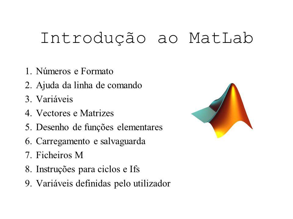 Números e formatos O MatLab reconhece vários tipos de números: –Integer (Ex: 12 - 678), –Real (Ex: 4.607 - 199.34), –Complex (Ex: 2 + 3i, i=j=sqrt(-1)), –Inf (Ex: Infinity 2/0), –NaN (EX: Not a Number, 0/0).