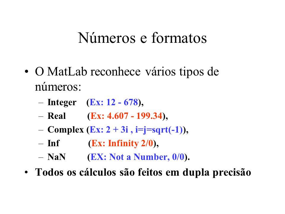 Números e Formato –O comando format no MatLab é usado para controlar a impressão dos números –O nº de dígitos mostrados não tem a ver com a precisão ou acurácia –Para formatar a visualização pode-se usar: format short e para notação científica com 5 casas decimais format long e para notação científica com 15 casas decimais format bank para colocação de dois dígitos significativos nas casas decimais
