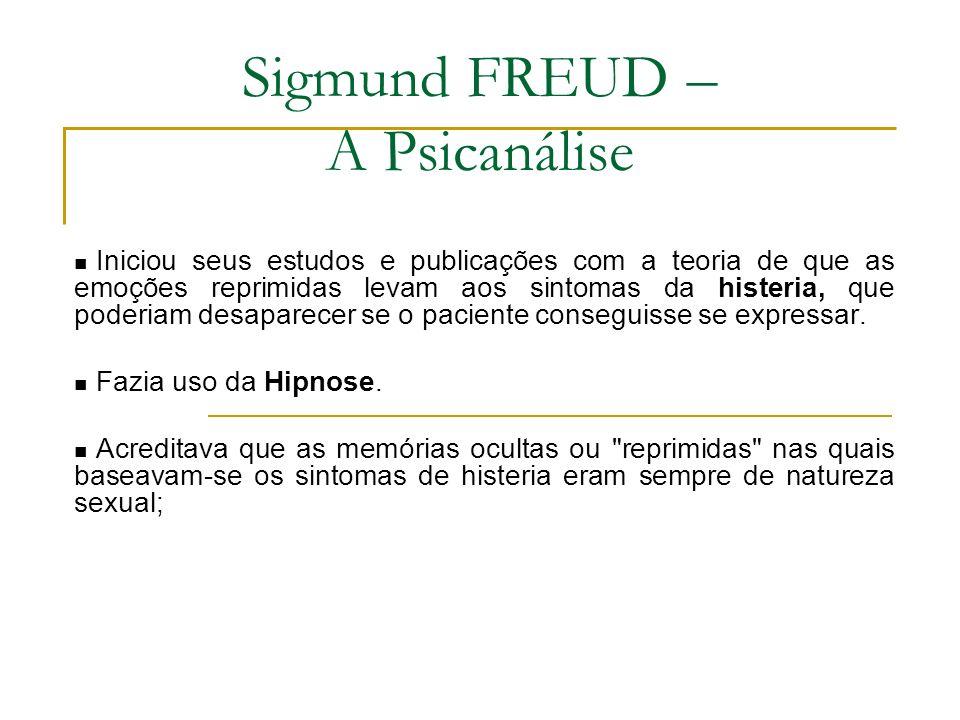 Sigmund FREUD – A Psicanálise Iniciou seus estudos e publicações com a teoria de que as emoções reprimidas levam aos sintomas da histeria, que poderia