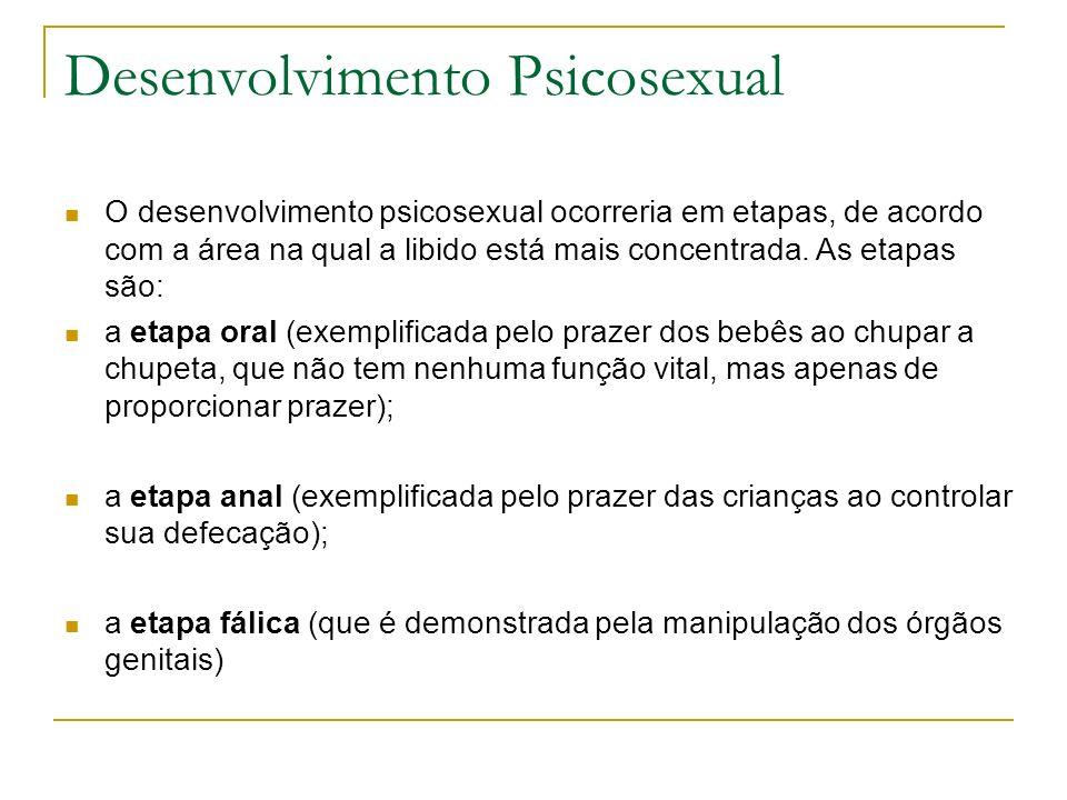 Desenvolvimento Psicosexual O desenvolvimento psicosexual ocorreria em etapas, de acordo com a área na qual a libido está mais concentrada. As etapas