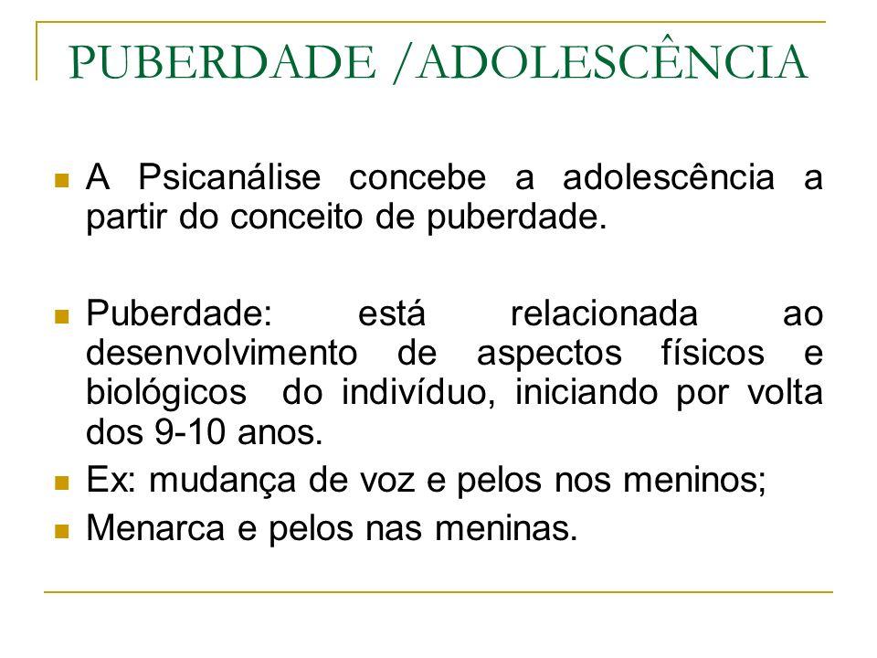 PUBERDADE /ADOLESCÊNCIA A Psicanálise concebe a adolescência a partir do conceito de puberdade. Puberdade: está relacionada ao desenvolvimento de aspe