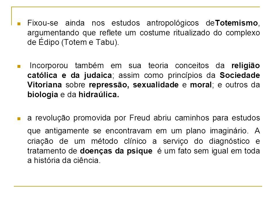 Fixou-se ainda nos estudos antropológicos deTotemismo, argumentando que reflete um costume ritualizado do complexo de Édipo (Totem e Tabu). Incorporou