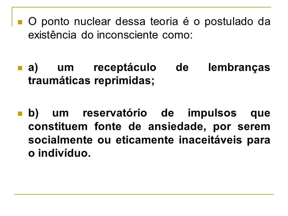 O ponto nuclear dessa teoria é o postulado da existência do inconsciente como: a) um receptáculo de lembranças traumáticas reprimidas; b) um reservató