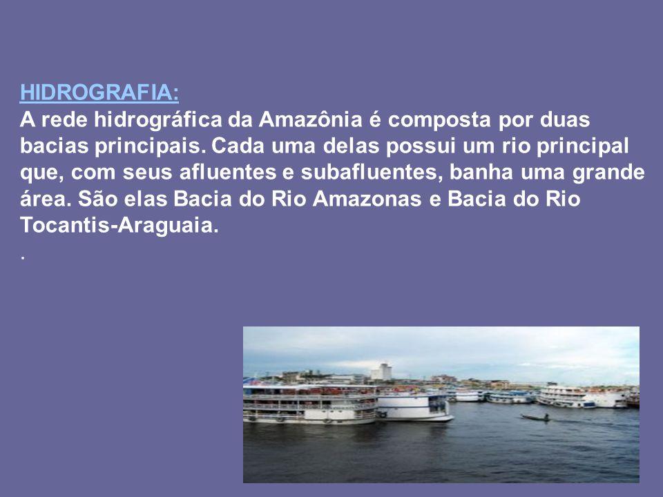 HIDROGRAFIA: A rede hidrográfica da Amazônia é composta por duas bacias principais. Cada uma delas possui um rio principal que, com seus afluentes e s