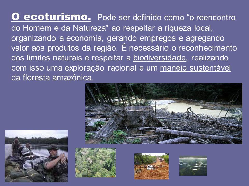 O ecoturismo. Pode ser definido como o reencontro do Homem e da Natureza ao respeitar a riqueza local, organizando a economia, gerando empregos e agre