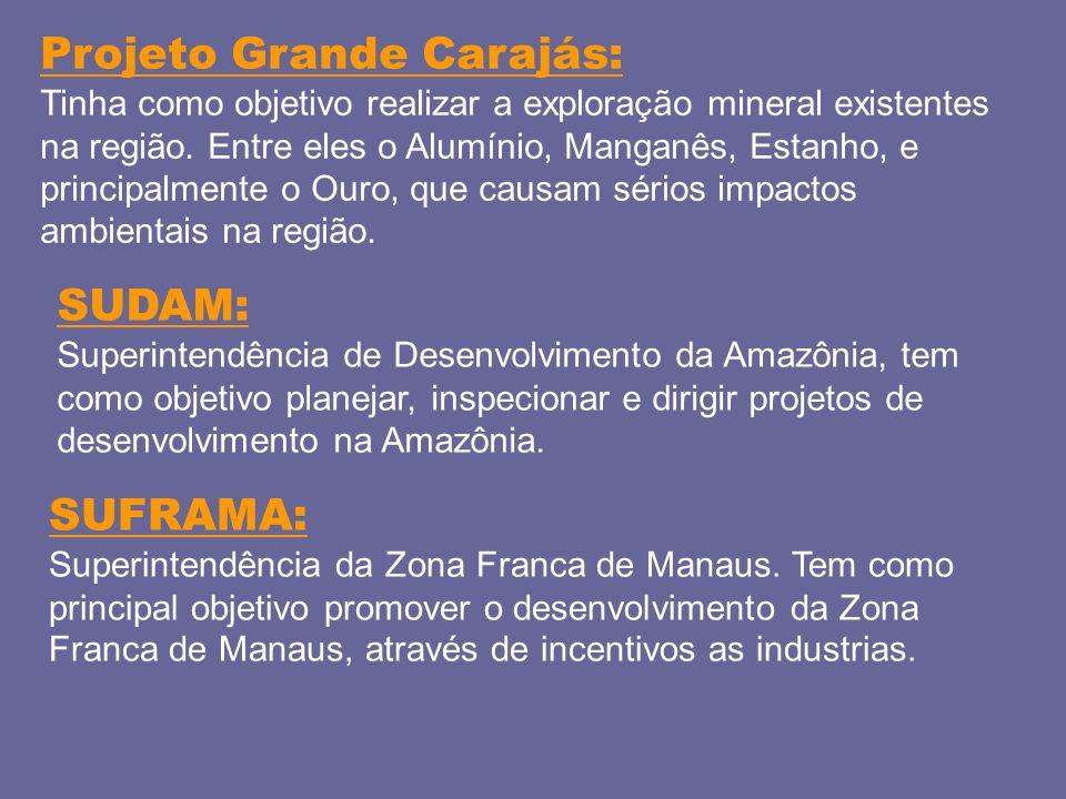Projeto Grande Carajás: Tinha como objetivo realizar a exploração mineral existentes na região. Entre eles o Alumínio, Manganês, Estanho, e principalm