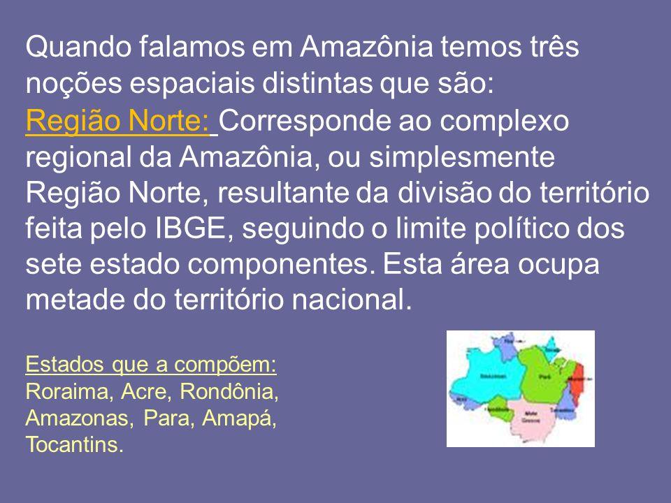 Quando falamos em Amazônia temos três noções espaciais distintas que são: Região Norte: Corresponde ao complexo regional da Amazônia, ou simplesmente