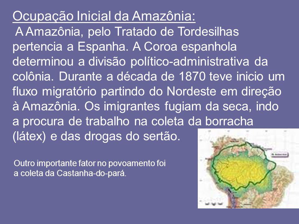 Ocupação Inicial da Amazônia: A Amazônia, pelo Tratado de Tordesilhas pertencia a Espanha. A Coroa espanhola determinou a divisão político-administrat