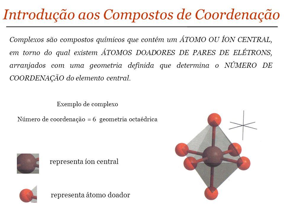 2 Introdução aos Compostos de Coordenação ÁTOMO CENTRAL : Elementos na forma catiônica: a maior parte são cátions de metais de transição metais de transição: possuem subcamadas d parcialmente preenchidas, ou originam íons com subcamadas d parcialmente preenchidas