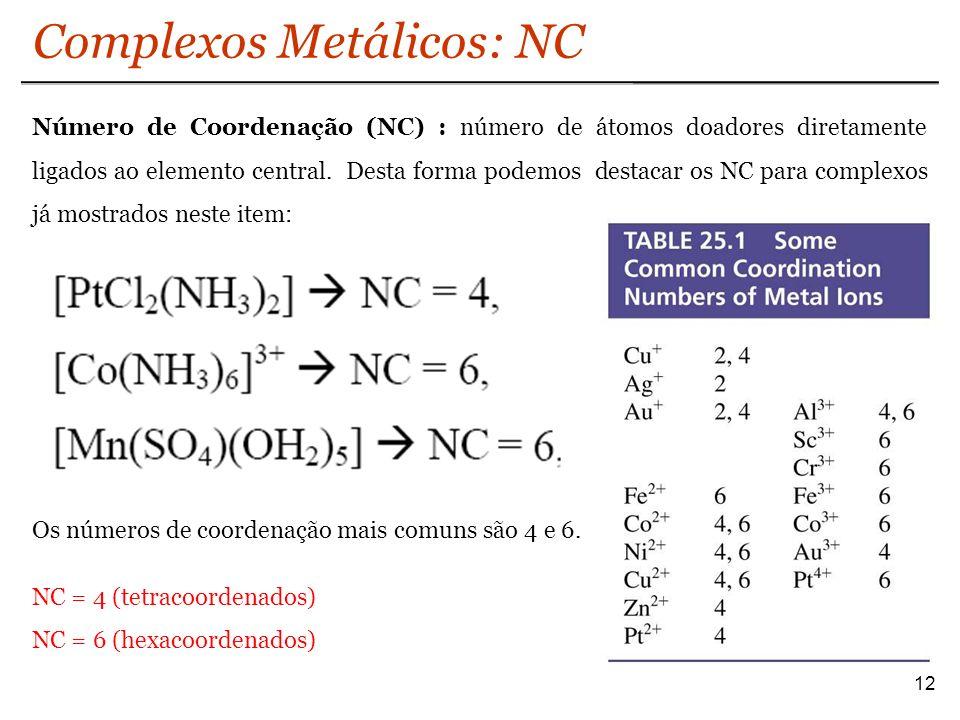 Complexos Metálicos: NC 12 Número de Coordenação (NC) : número de átomos doadores diretamente ligados ao elemento central. Desta forma podemos destaca