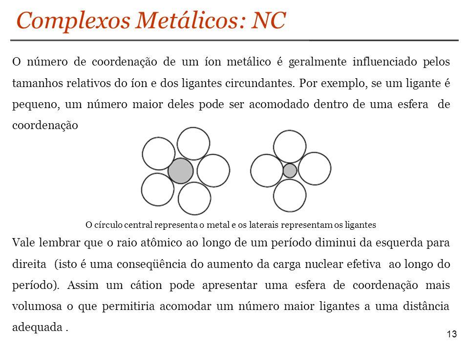Complexos Metálicos: NC 13 O número de coordenação de um íon metálico é geralmente influenciado pelos tamanhos relativos do íon e dos ligantes circund