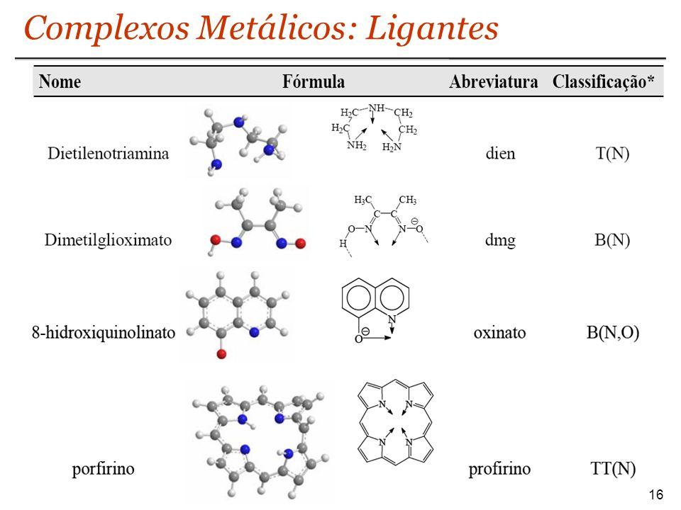 Complexos Metálicos: Ligantes 16