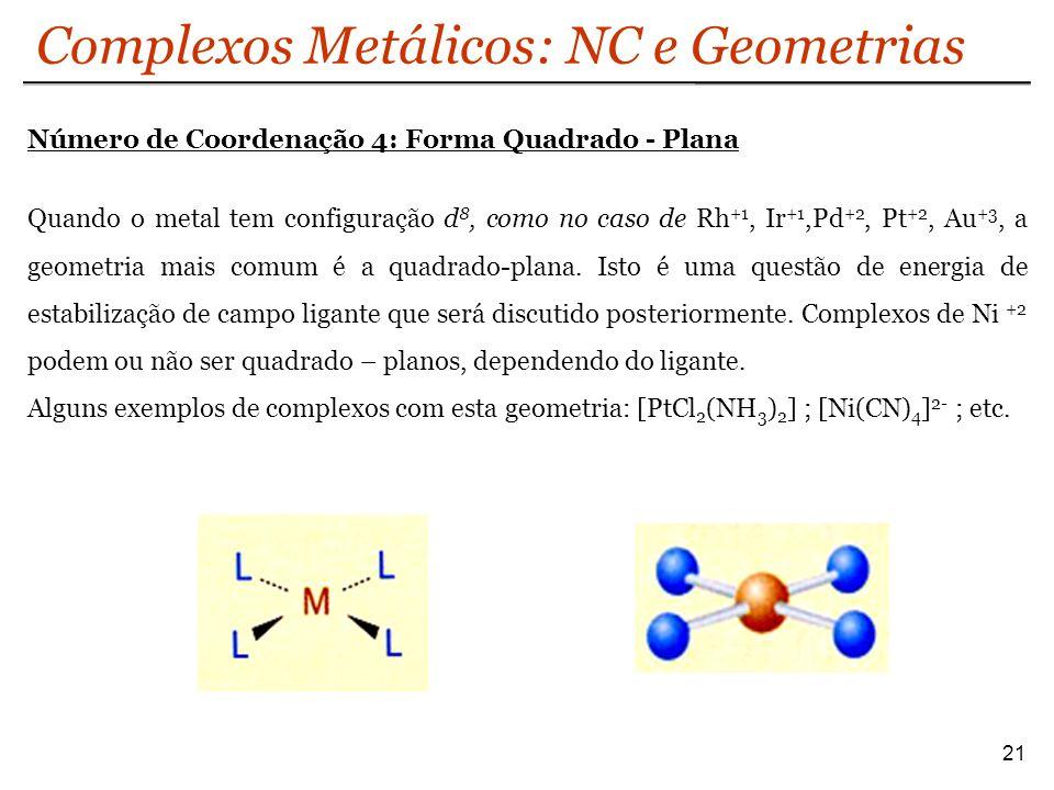 Complexos Metálicos: NC e Geometrias 21 Número de Coordenação 4: Forma Quadrado - Plana Quando o metal tem configuração d 8, como no caso de Rh +1, Ir
