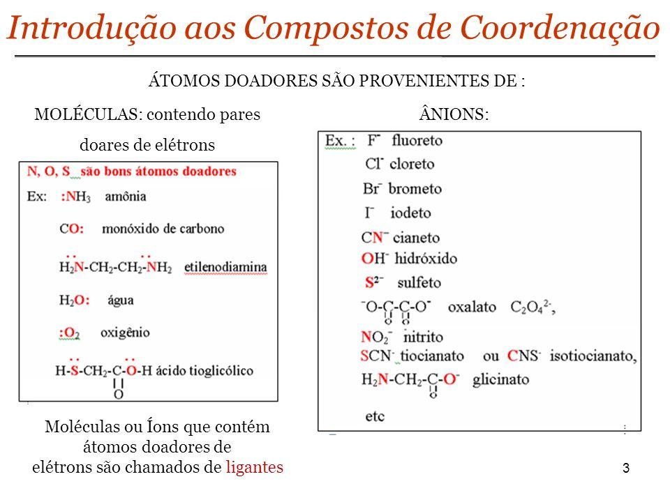 3 Introdução aos Compostos de Coordenação ÁTOMOS DOADORES SÃO PROVENIENTES DE : MOLÉCULAS: contendo pares doares de elétrons ÂNIONS: Moléculas ou Íons