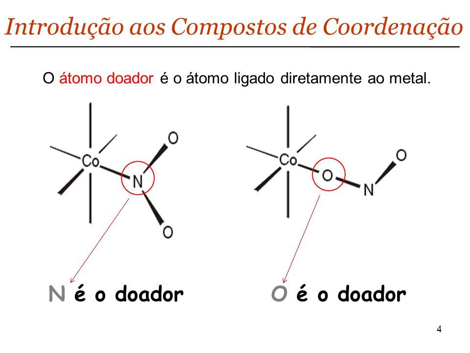 4 Introdução aos Compostos de Coordenação O átomo doador é o átomo ligado diretamente ao metal. N é o doadorO é o doador