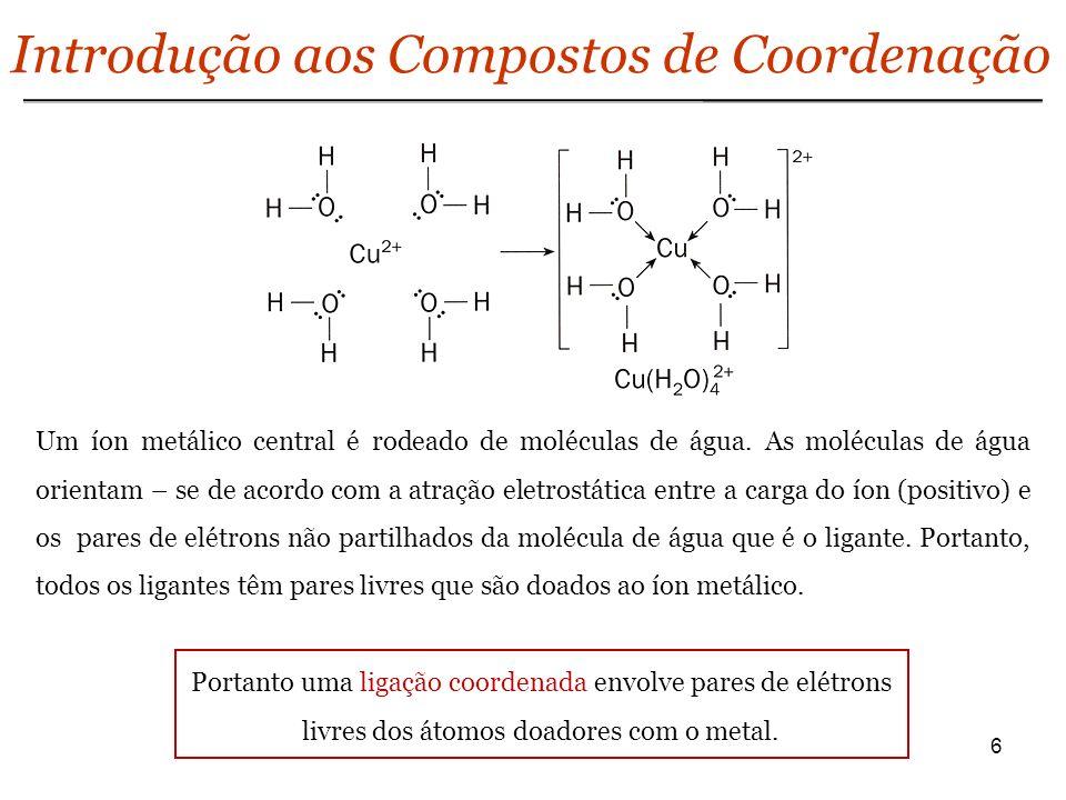 6 Introdução aos Compostos de Coordenação Um íon metálico central é rodeado de moléculas de água. As moléculas de água orientam – se de acordo com a a