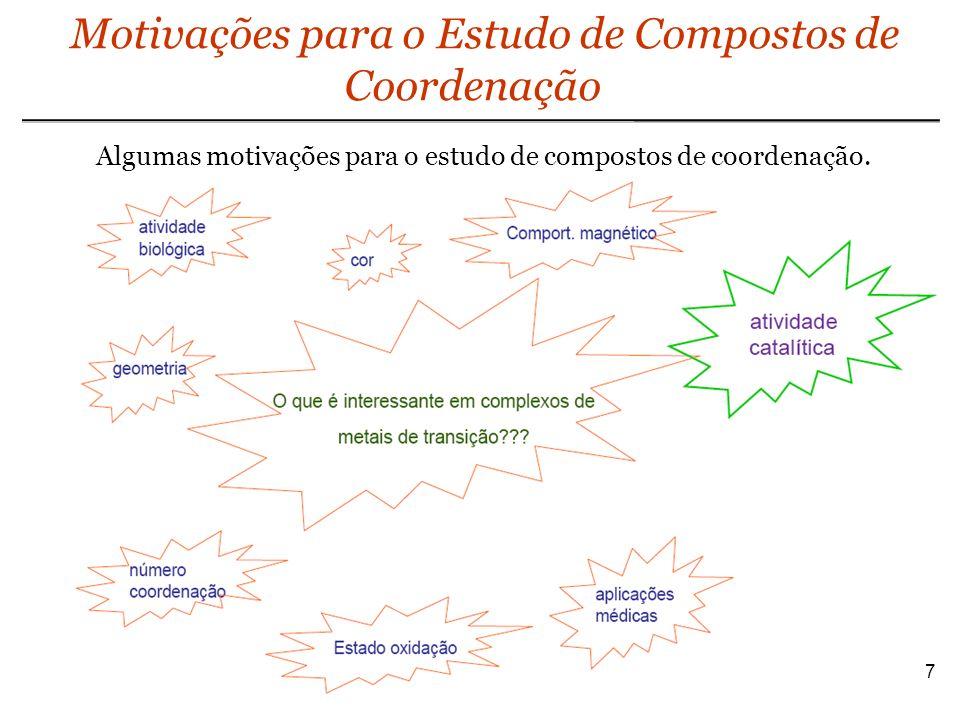 Complexos Metálicos: NC e Geometrias 18 É comum que complexos tenham a disposição dos ligantes de sua esfera de coordenação bem descrita, dependendo do caso, segundo uma forma ou então segundo uma geometria regular.