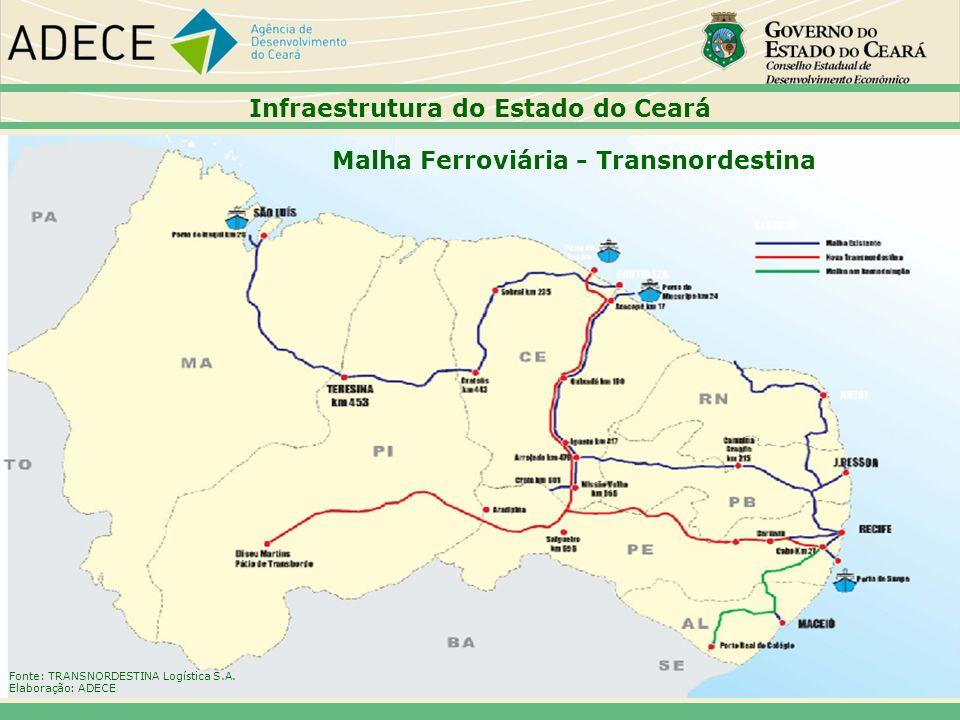 Infraestrutura do Estado do Ceará Malha Ferroviária - Transnordestina Fonte: TRANSNORDESTINA Logística S.A. Elaboração: ADECE