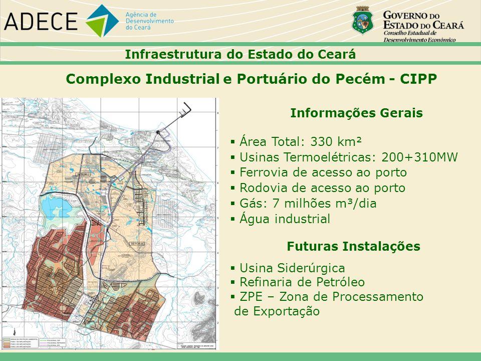 Complexo Industrial e Portuário do Pecém - CIPP Informações Gerais Área Total: 330 km² Usinas Termoelétricas: 200+310MW Ferrovia de acesso ao porto Ro