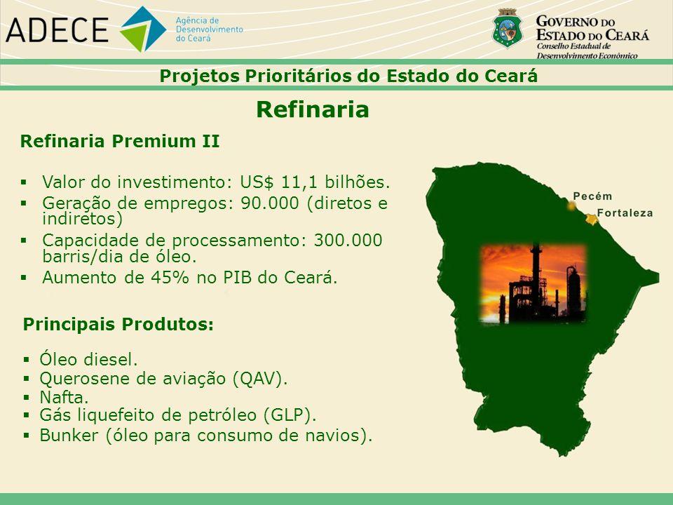 Refinaria Premium II Valor do investimento: US$ 11,1 bilhões. Geração de empregos: 90.000 (diretos e indiretos) Capacidade de processamento: 300.000 b