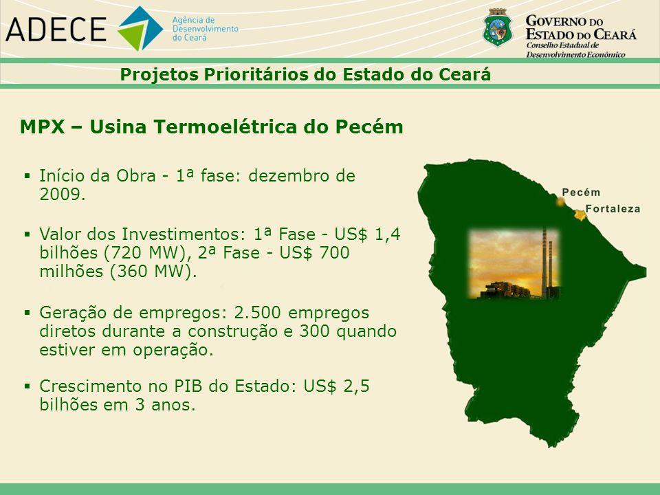 MPX – Usina Termoelétrica do Pecém Início da Obra - 1ª fase: dezembro de 2009. Valor dos Investimentos: 1ª Fase - US$ 1,4 bilhões (720 MW), 2ª Fase -