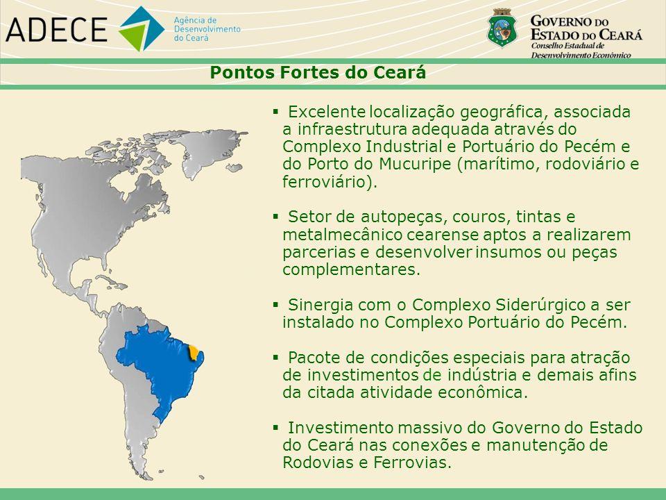 Pontos Fortes do Ceará Excelente localização geográfica, associada a infraestrutura adequada através do Complexo Industrial e Portuário do Pecém e do