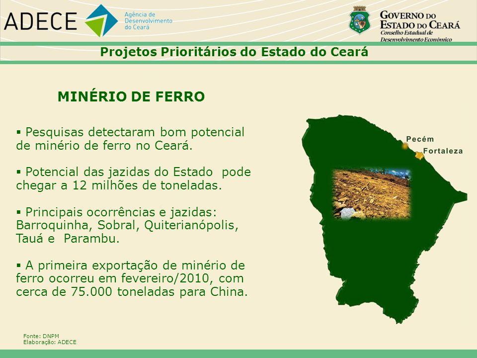 Pesquisas detectaram bom potencial de minério de ferro no Ceará. Potencial das jazidas do Estado pode chegar a 12 milhões de toneladas. Principais oco