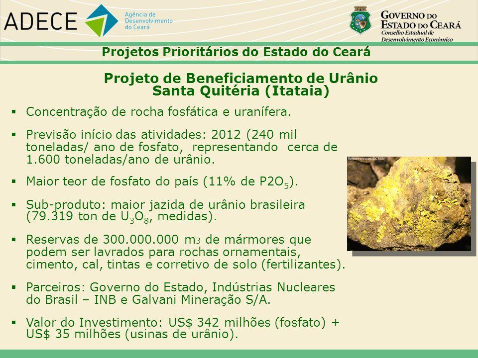 Projeto de Beneficiamento de Urânio Santa Quitéria (Itataia) Concentração de rocha fosfática e uranífera. Previsão início das atividades: 2012 (240 mi