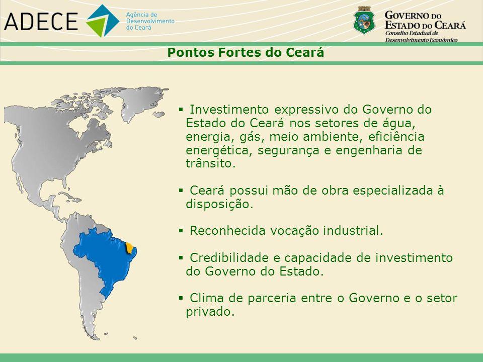 Pontos Fortes do Ceará Investimento expressivo do Governo do Estado do Ceará nos setores de água, energia, gás, meio ambiente, eficiência energética,