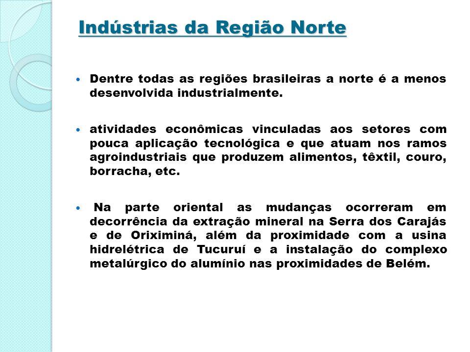 Indústrias da Região Norte Dentre todas as regiões brasileiras a norte é a menos desenvolvida industrialmente. atividades econômicas vinculadas aos se