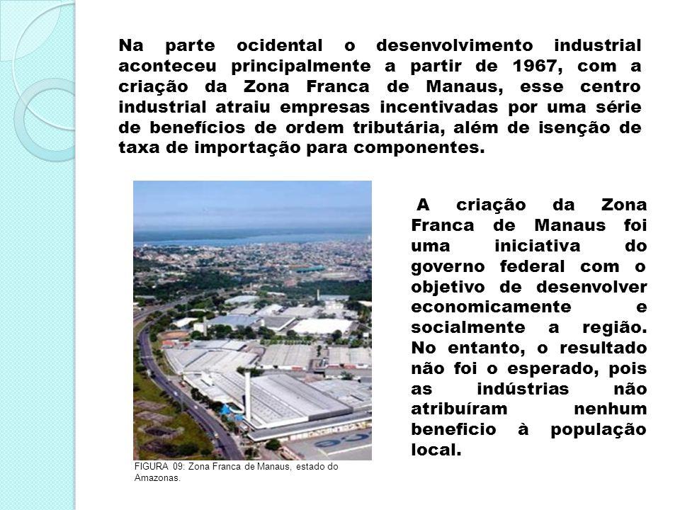Na parte ocidental o desenvolvimento industrial aconteceu principalmente a partir de 1967, com a criação da Zona Franca de Manaus, esse centro industr