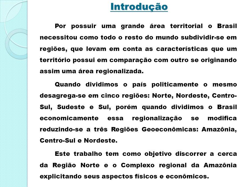Introdução Por possuir uma grande área territorial o Brasil necessitou como todo o resto do mundo subdividir-se em regiões, que levam em conta as cara