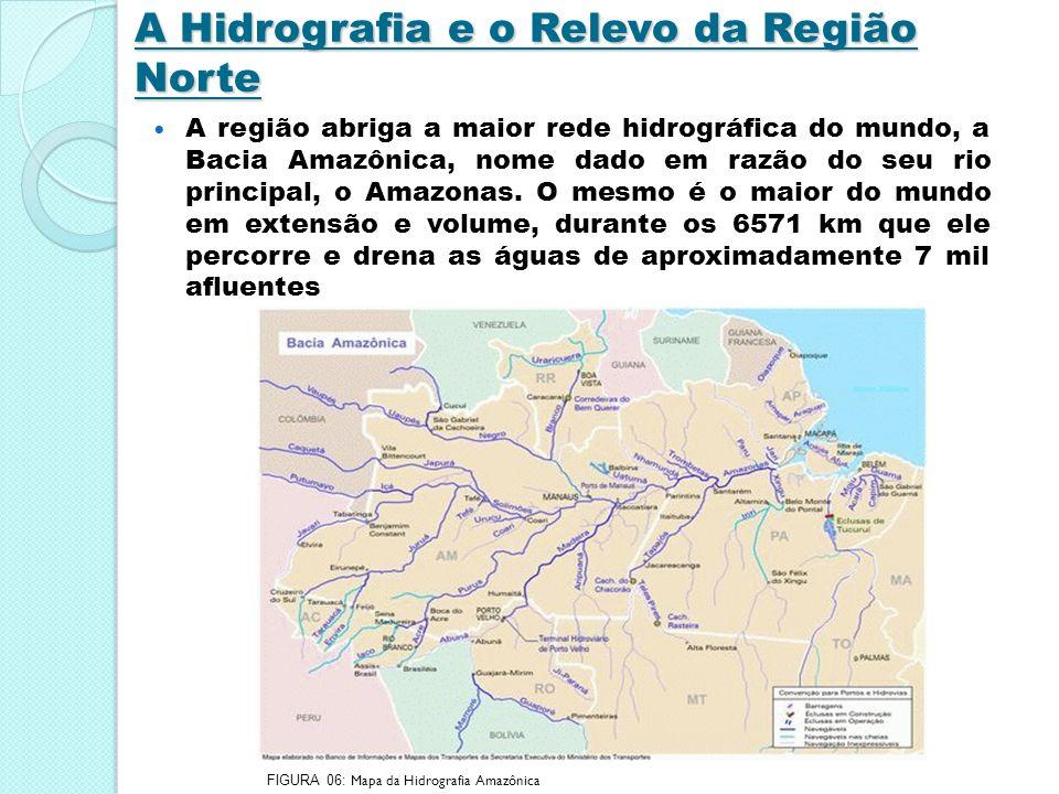 A maioria dos rios da região são extensos e volumosos, isso proveniente do relevo plano.