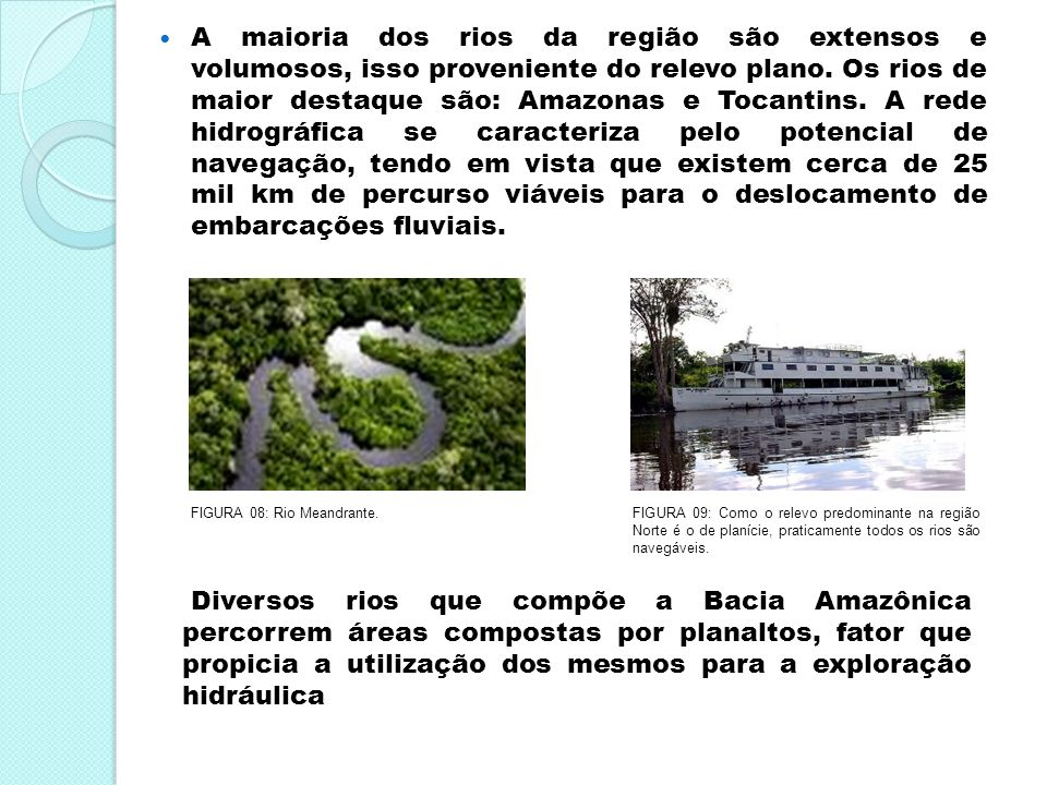 A maioria dos rios da região são extensos e volumosos, isso proveniente do relevo plano. Os rios de maior destaque são: Amazonas e Tocantins. A rede h