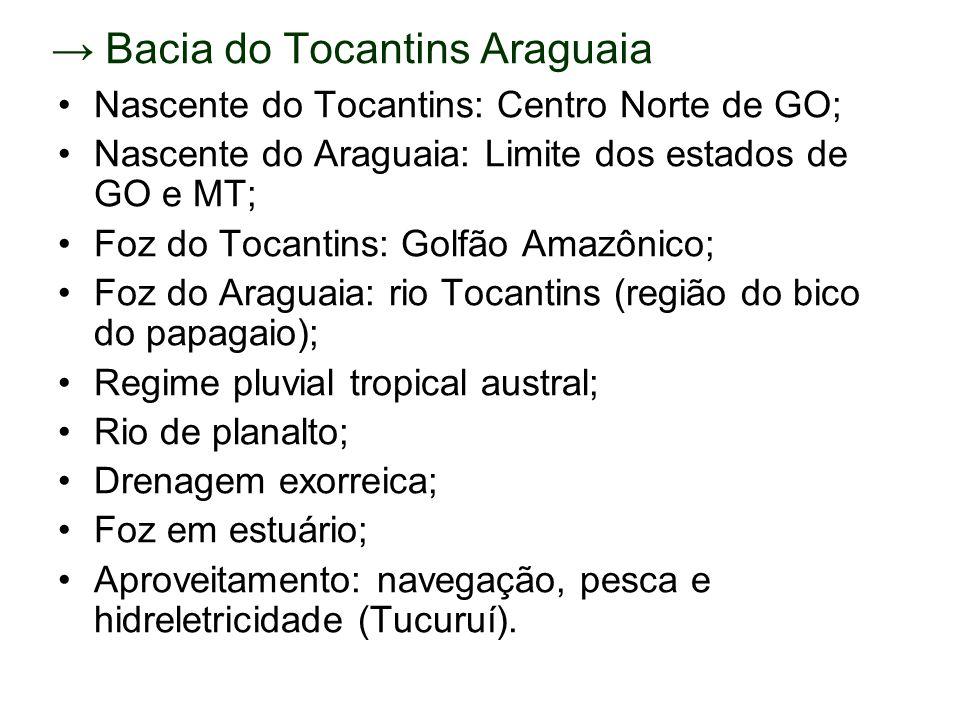 Bacia do Tocantins Araguaia Nascente do Tocantins: Centro Norte de GO; Nascente do Araguaia: Limite dos estados de GO e MT; Foz do Tocantins: Golfão A