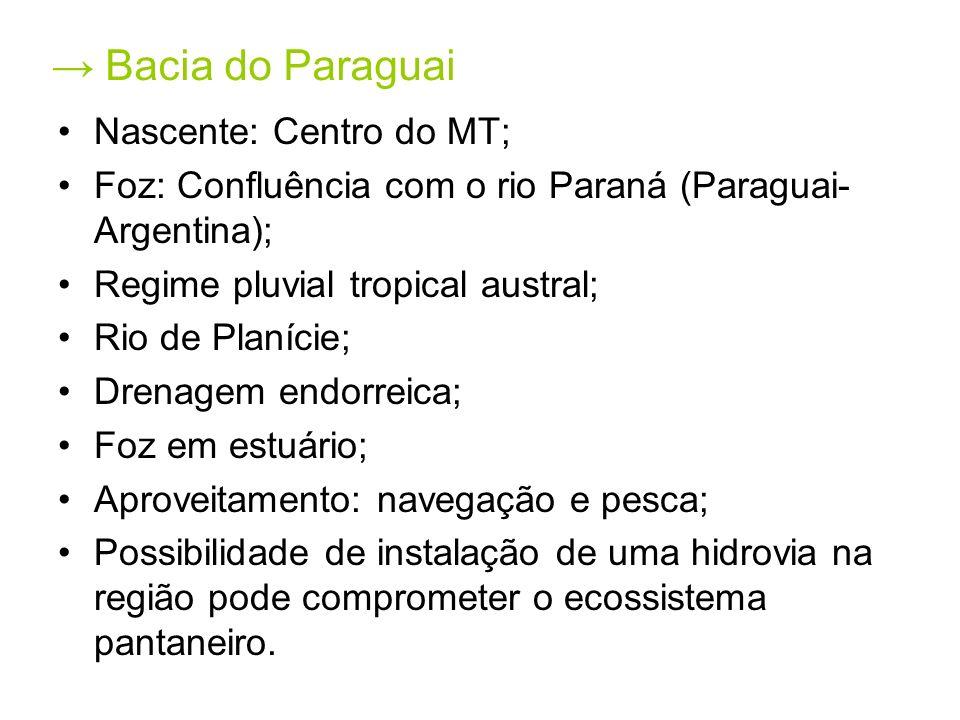 Bacia do Paraguai Nascente: Centro do MT; Foz: Confluência com o rio Paraná (Paraguai- Argentina); Regime pluvial tropical austral; Rio de Planície; D