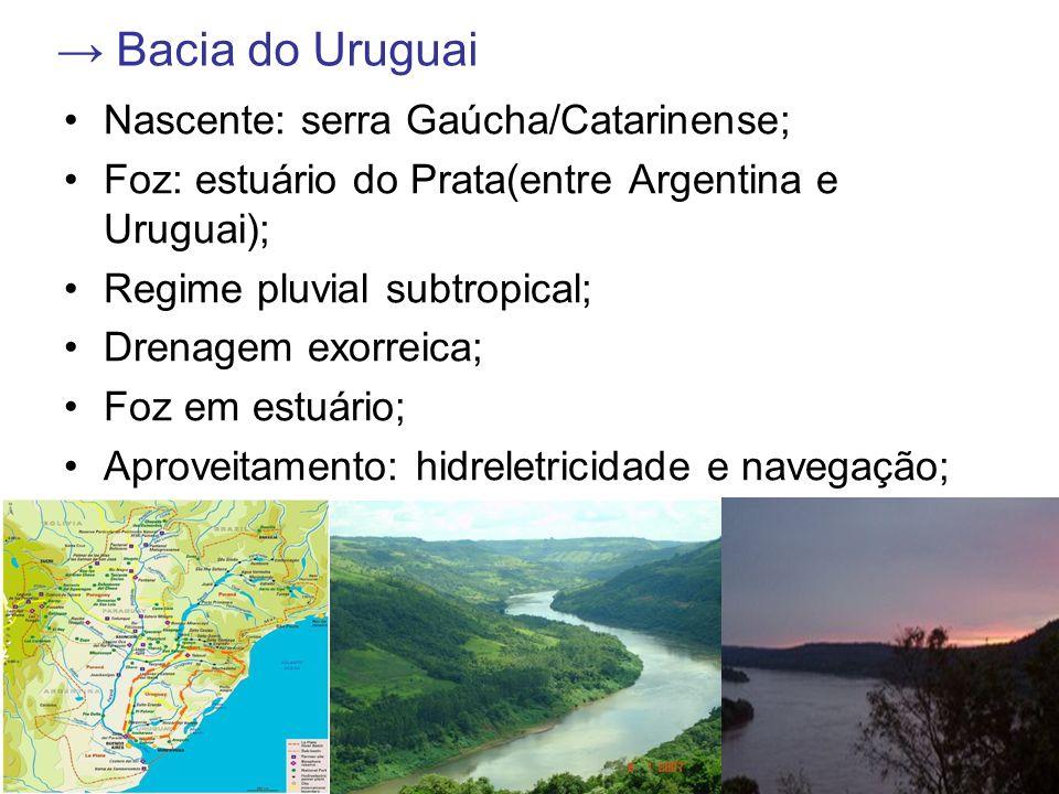 Bacia do Uruguai Nascente: serra Gaúcha/Catarinense; Foz: estuário do Prata(entre Argentina e Uruguai); Regime pluvial subtropical; Drenagem exorreica