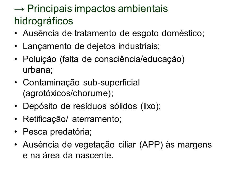 Principais impactos ambientais hidrográficos Ausência de tratamento de esgoto doméstico; Lançamento de dejetos industriais; Poluição (falta de consciê