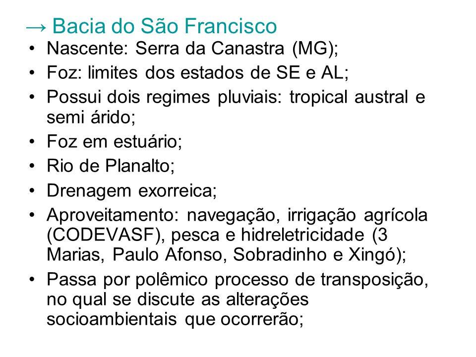 Bacia do São Francisco Nascente: Serra da Canastra (MG); Foz: limites dos estados de SE e AL; Possui dois regimes pluviais: tropical austral e semi ár