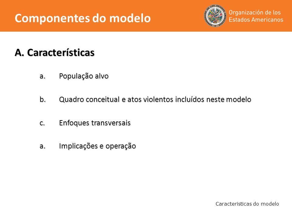 A. Características a.População alvo b.Quadro conceitual e atos violentos incluídos neste modelo c.Enfoques transversais a.Implicações e operação Carac
