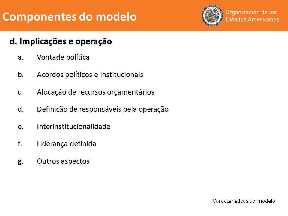 a.Vontade política b.Acordos políticos e institucionais c.Alocação de recursos orçamentários d.Definição de responsáveis pela operação e.Interinstituc
