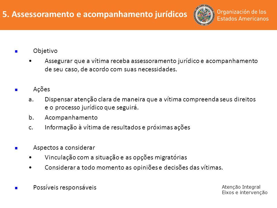 5. Assessoramento e acompanhamento jurídicos Atenção Integral Eixos e intervenção Objetivo Assegurar que a vítima receba assessoramento jurídico e aco