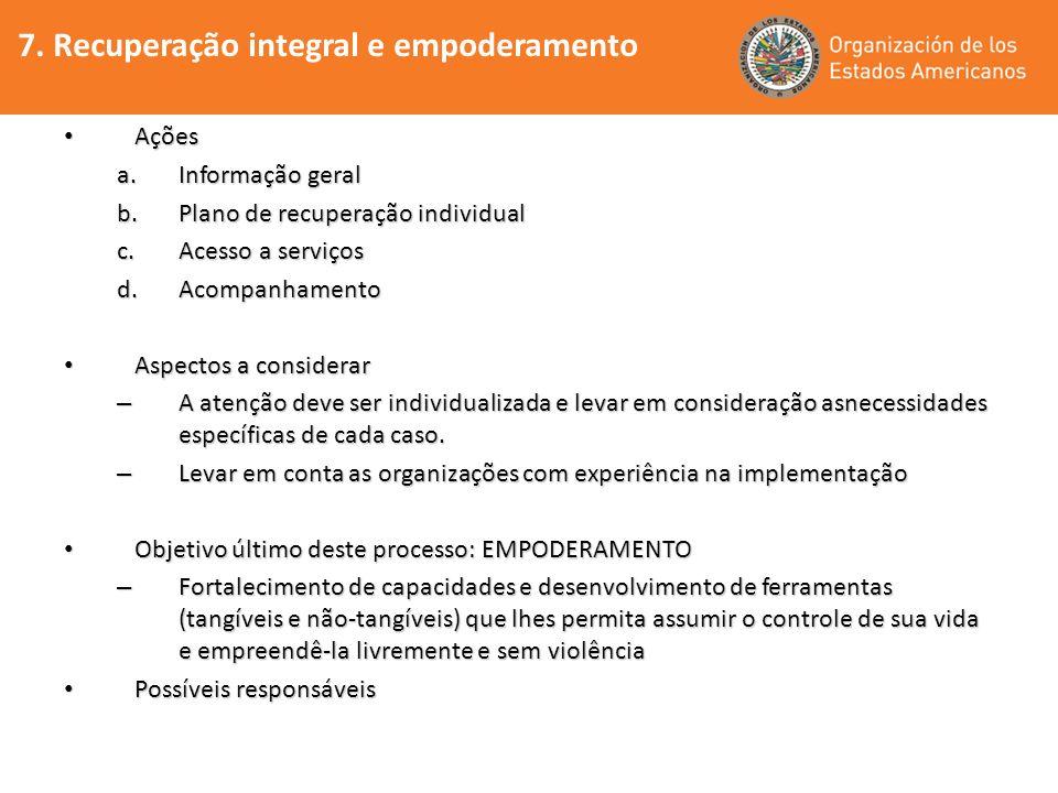 7. Recuperação integral e empoderamento Ações Ações a.Informação geral b.Plano de recuperação individual c.Acesso a serviços d.Acompanhamento Aspectos